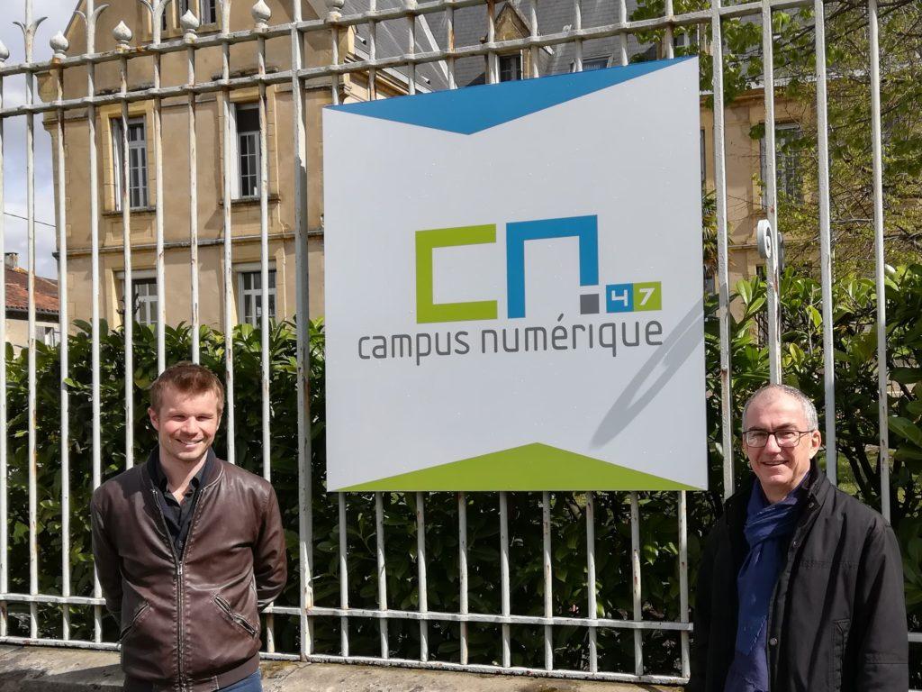 Damien Bizot, directeur du Campus Numérique (à gauche) et François Paolini, chef de projets d'Agrinove (à droite). Crédit photo : Agrinove.